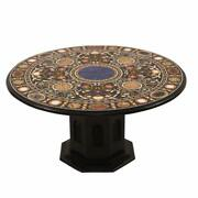 42 Black Marble Inlay Coffee Table Top Inlay Pietradura Work With Marble Stand