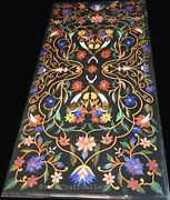 48 X 24 Black Marble Dining Center Table Top Pietra Dura Inlay Work