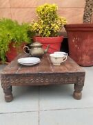 Ancient Old Coffee Table Low Table Bajot Wooden Hand Craved Floral Design Table