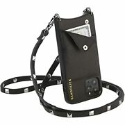 Bandolier Sarah Crossbody Phone Case And Wallet - Black Leather With Silver D...