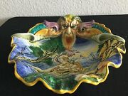 Antique Cantagalli Pottery Center Piece Hand Painted