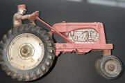 """Vintage Auburn Red Toy Rubber Tractor 572 With Hitch 7"""" Long 4.5"""" Tall"""