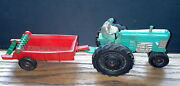 """Vintage 1950 Auburn Tractor With Manure Spreader Green Silver Red 10.5"""" Long Tot"""