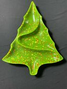 Vintage Atlantic Mold Christmas Tree Divided Serving Tray Candy Nut Dish Green
