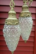 Vtg. Mid Century Ceiling Swag Lamp Double Pineapple Glass Shades Light Fixture