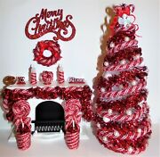 New 112 Dollhouse Miniature 9lighted Candy-cane Red Christmas Tree+ornaments