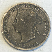 1886 Canada 25 Cent Silver Coin - Not Cleaned Hard To Find - Low Mintage 540k