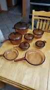 Corning Ware Visions 14-piece Amber Glass Cookware Pots Pans And Skillets