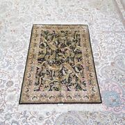 Yilong 2.7and039x4and039 Handmade Silk Carpet Leaf Pattern Oriental Luxury Area Rug Z454a