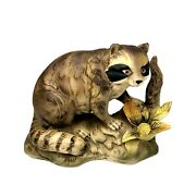 Vtg Racoon Fine Porcelain Japan Figurine Decorative Quality 5 In Tall