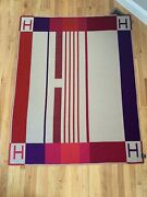Hermes Beige And Red Avalon H Pattern Wool Blanket