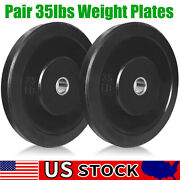 1pair New 35lbsolympic Weight Barbell Plates Set Rubber Bumper Fitness Workout