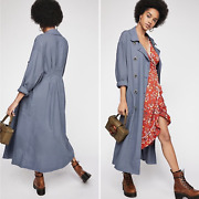 Sz L 168 Free People Sweet Melody Trench Coat Duster Double Breast Slate Blue