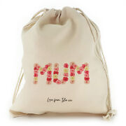 Personalised Mum Gift Bag With Name, Flower Drawstring Bag For Birthday Present