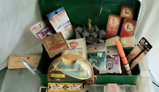 Vintage Steel Union Utility Chest, Tackle Box Full Of Fishing Gear, Lead Weights