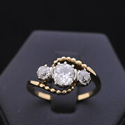 Ring Trilogy Vintage Gold 9kt Natural Diamonds Doesn't Treated 1.28ct Certified