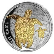 2012 Fiji Double Taku 2 1oz Silver Coin With Baby Turtle Gold Guilded