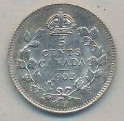 Canada Edward Vii Silver 5 Cents 1903 H Large H - Iccs Ms-65