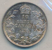 Canada Edward Vii 10 Cents 1903 H - Iccs Ms-65