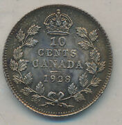 Canada George V 10 Cents 1928 - Iccs Ms-64