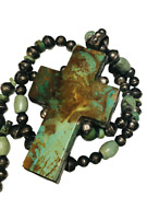 Gale Self Choctaw Sterling Silver Royston Turquoise Cross Necklace 148.86g 34-in