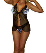 Penn State Nittany Lions Lingerie Negligee Teddy Babydoll W/g-string - Plus Size