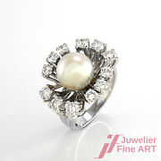 Ring With 1a-akoya-perle And 12 Diamonds Ca.1 Ct Tw Vvs In 14k White Gold - 0.3oz
