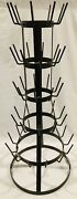 """Vintage French Brown Metal Wine Bottle Drying Rack Tree - 39"""" Tall"""