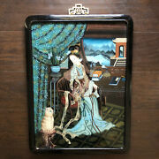 Fine Chinese Reverse Glass Painting Robed Lady Beauty W Cat Scholar Art Objects