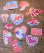 Lot Of 12 Vintage Valentine's Day Paper Decorations Mixed Lot