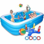 Inflatable Swimming Pools,full-size Kiddie Kids Pool Blue And White