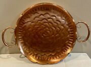 Vintage Hammered Solid Copper Tray/platter Handles Roses And Scallops 9andrdquo
