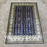 Yilong 2.7and039x4and039 Handknotted Silk Area Rug Blue All-over Kid Friendly Carpet H201b