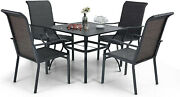 Rattan Patio Chairs Tables Set Of 5 Wicker Chairs Table Outdoor Dining Furniture