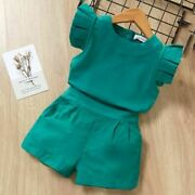 Girls Clothes Set Short Sleeve Round Neck T-shirt And Printed Shorts 2 Pcs Suit