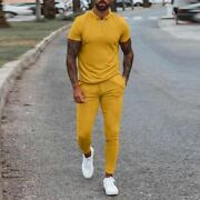 Men 2 Piece Set Turn-down Collar Zipper Tops And Drawstring Pants Casual Outfit