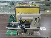 Vintage 1952 Singer 301 Sewing Machine W/ Case Foot Pedal Attachments And Spools