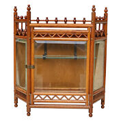 Antique Victorian Oak Stick And Ball Wall Hanging Display Cabinet Shelf