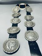 Bear And Heavy Vintage Navajo Hand Tooled 629 Gram Sterling Silver Conbcho Belt