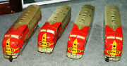 Marx Tin Santa Fe Toy Train Diesel Locomotive 21 And 2 Dummy's And 1 Spare For Parts