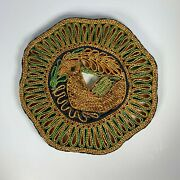 Vintage Wicker Straw Woven Trivet With Bird Hot Pad 9 Inch