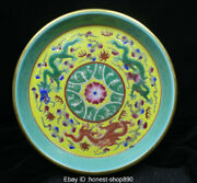Chinese Anitique Pink Cai Porcelain Dynasty Flower Dragon Plate Pen Wash Statue