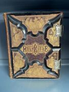 Antique Victorian 1886 Parallel Column Holy Bible Leather Bound Color Plates