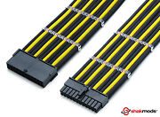 Shakmods 24pin Atx Mobo 30cm Black And Yellow Sleeved Extension + 2 Cable Combs