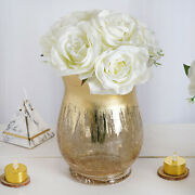6 Gold 8 Tall Crackle Glass Candle Holders Vases Wedding Party Centerpieces