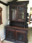 Antique French Oak Hunt Cabinet, Griffin And Bird Carvings And Gargoyles
