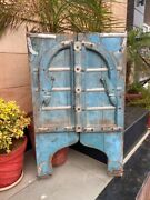 1700's Ancient Rare Wood Carved Blue Painted Floral Castle 45 X 27''arch Door