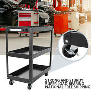 3-layer Tool Cart Trolley Workbench Workstaion Heavy Duty 4-wheels Red/black