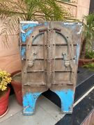1700and039s Ancient Wood Carved Blue Washed Painted Floral Castle 46 X 26and039and039arch Door