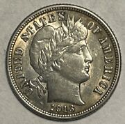 1913 Barber Dime Brilliant Uncirculated Great Eye Appeal Uncertified